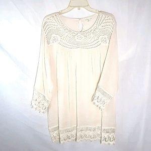 Indigo Soul cream lace mini dress tunic